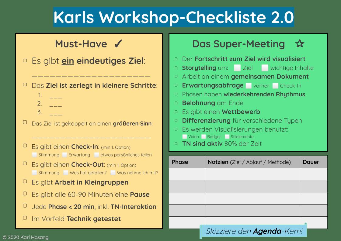 Workshop-Checkliste - Coaching-Programm- Lernprozesse entwickeln -Online